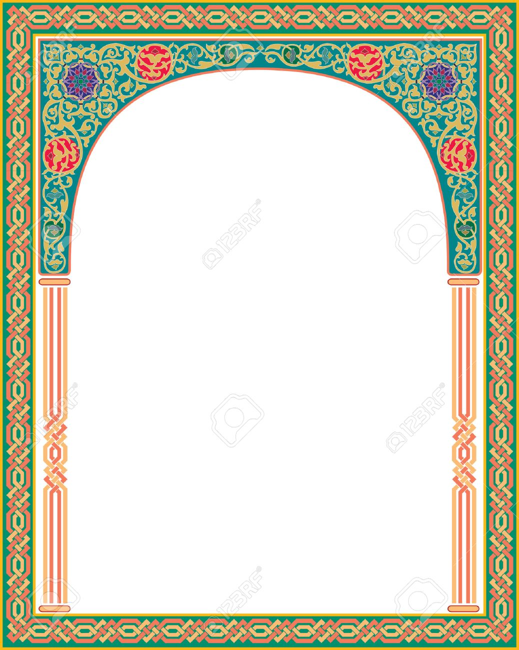Islamic arabesque style border frame with flourish ornament islamic arabesque style border frame with flourish ornament colored stock vector 23185783 thecheapjerseys Image collections
