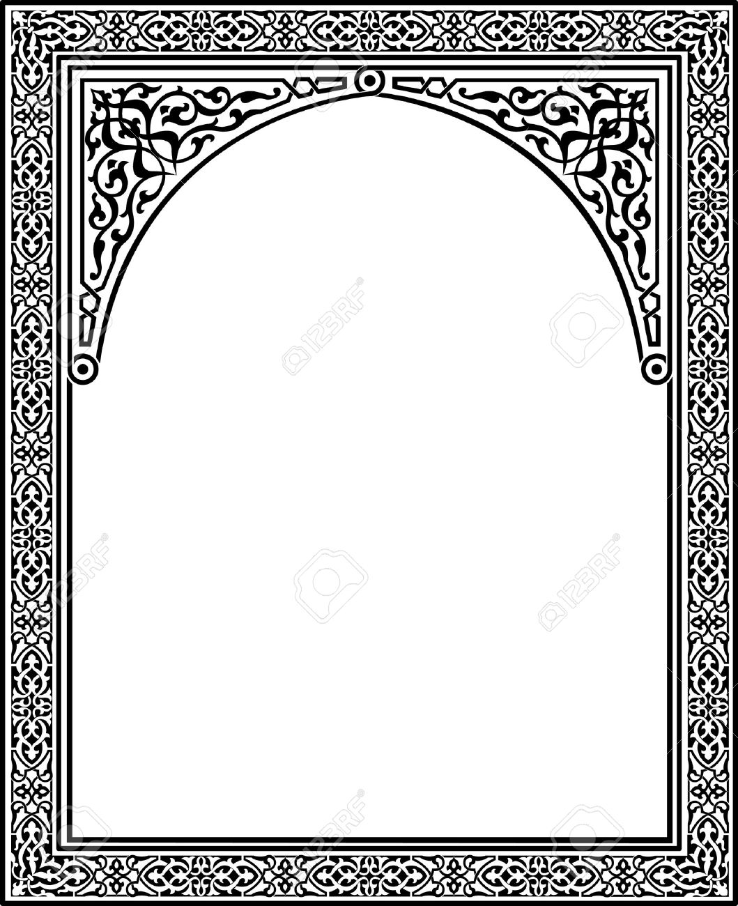 Islamic arabesque style border frame with flourish ornament islamic arabesque style border frame with flourish ornament monochrome stock vector 23185784 thecheapjerseys Image collections