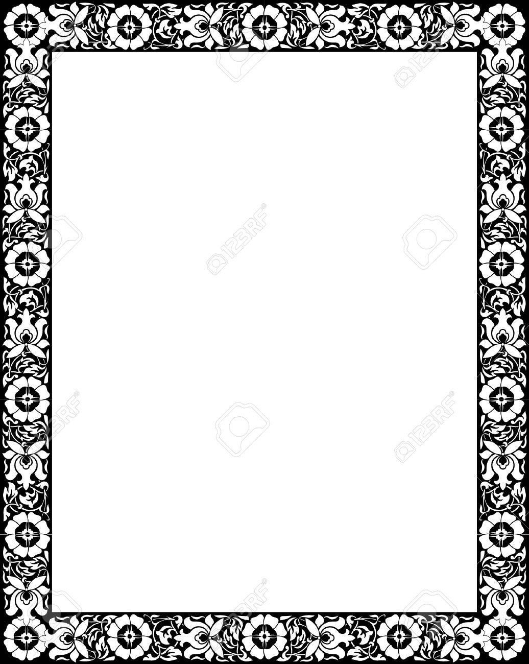 Flourish border frame, monochrome Stock Vector - 23185857