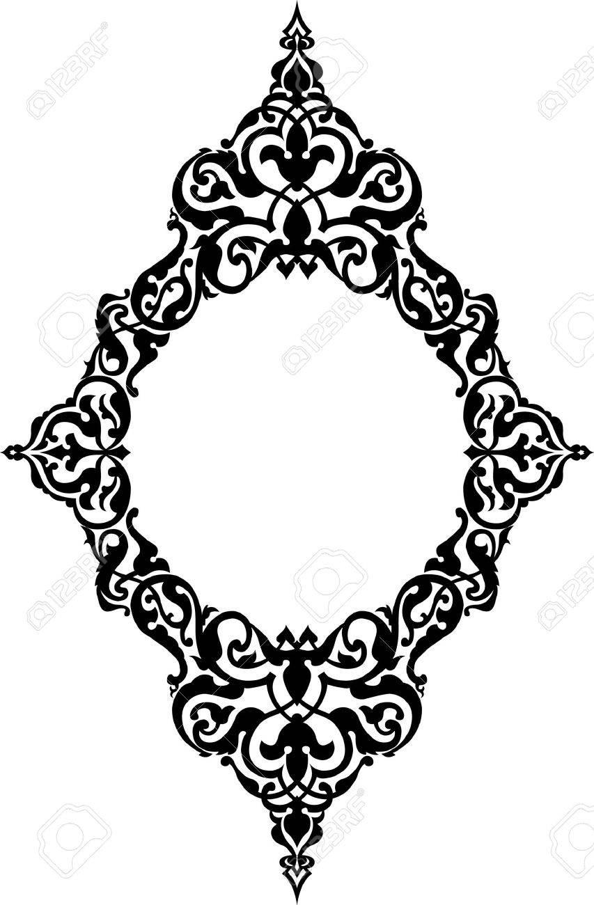 Ornamental eastern design, border frame, monochrome Stock Vector - 23185871