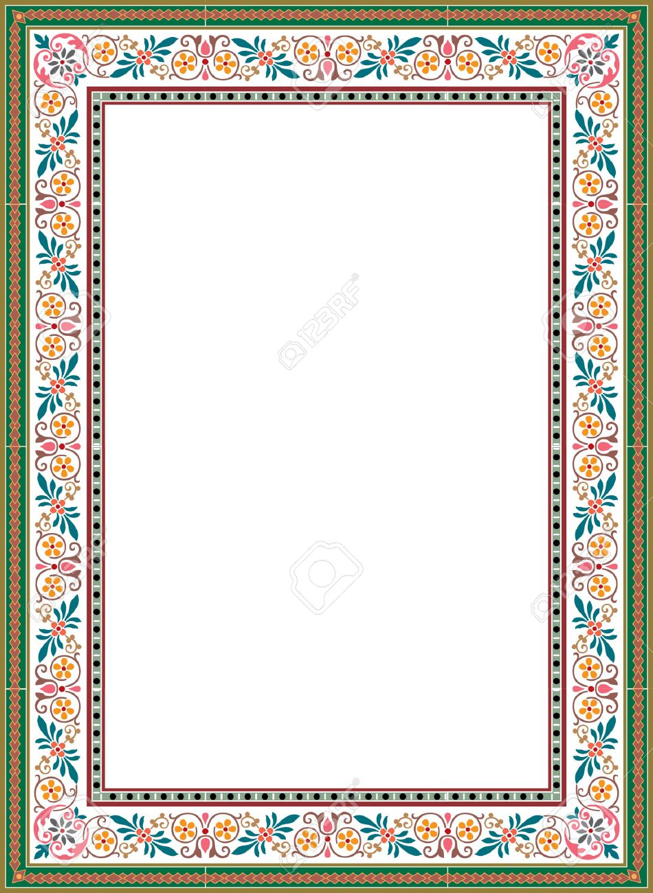 floral ornament border frame, colored Stock Vector - 23185916