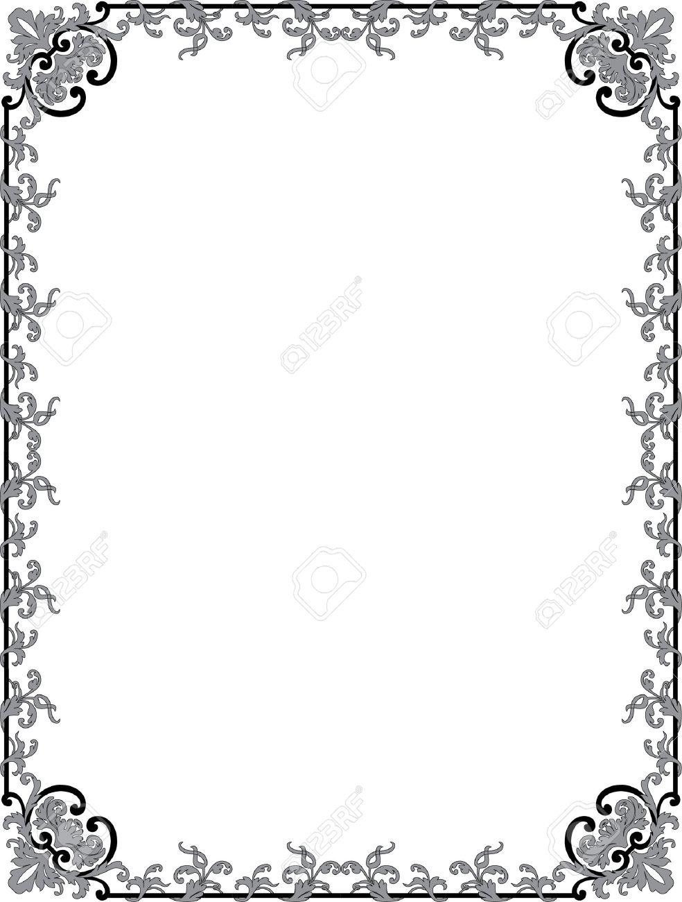 Cadre Bordure oriental s'épanouir cadre de bordure, monochrome clip art libres de