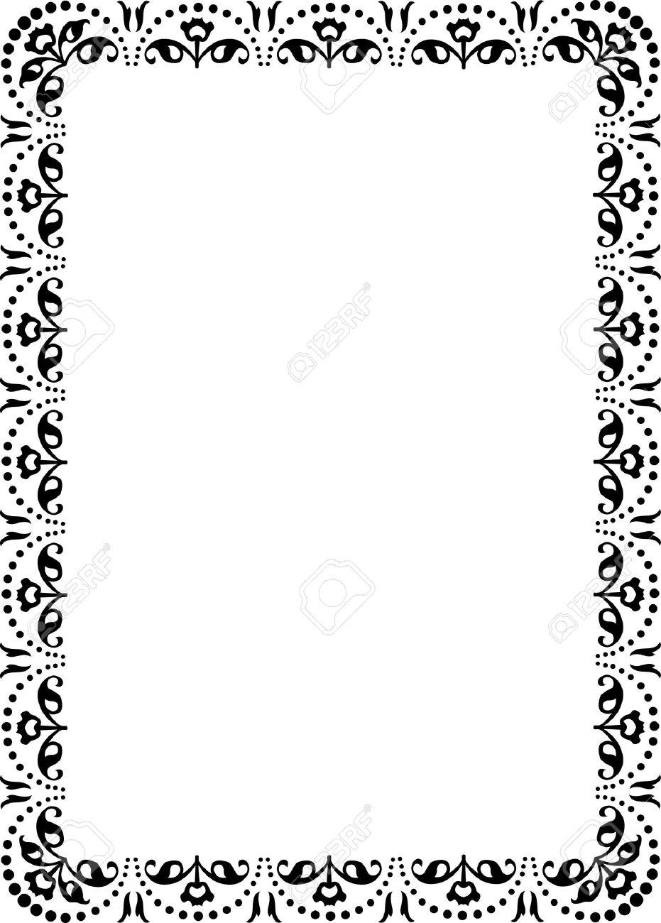 花飾り枠、モノクロ ロイヤリティフリークリップアート、ベクター