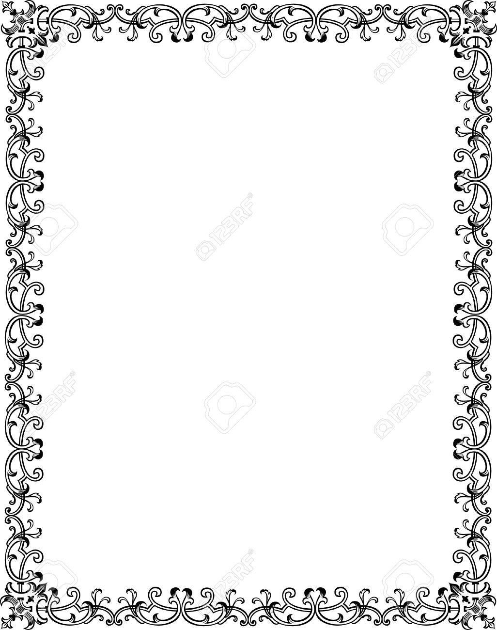 Rahmen Verziert, Schwarz Und Weiß Lizenzfrei Nutzbare Vektorgrafiken ...