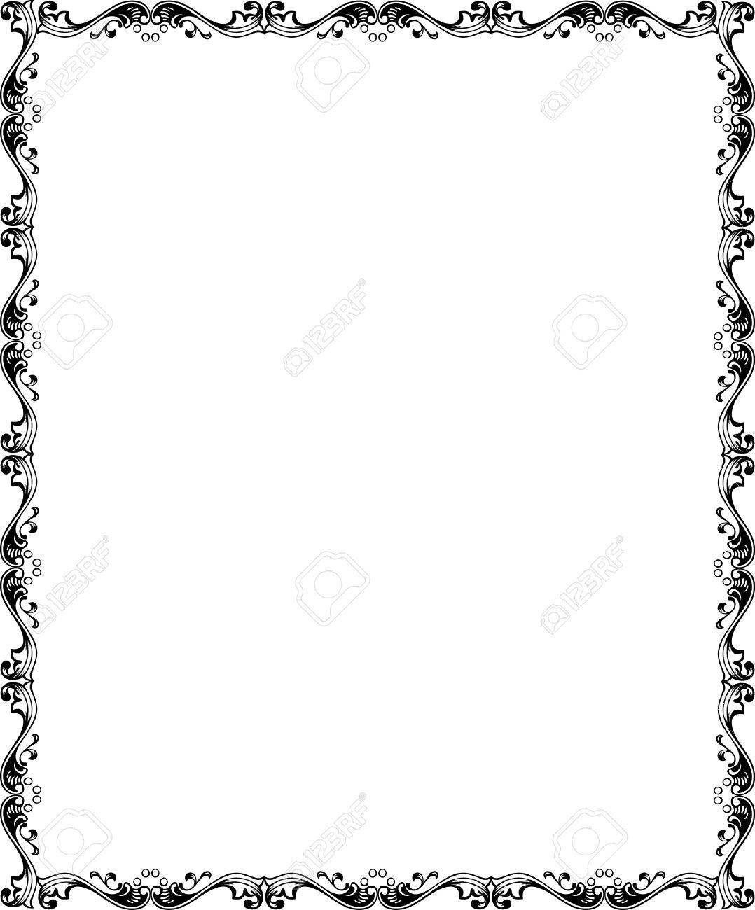 Einfache Fliesen Vektor-Rahmen, Schwarz-Weiß Lizenzfrei Nutzbare ...