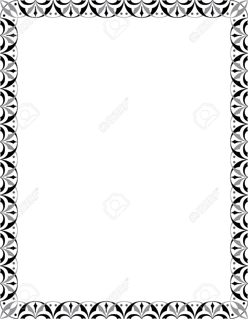 marco decorado en escala de grises foto de archivo