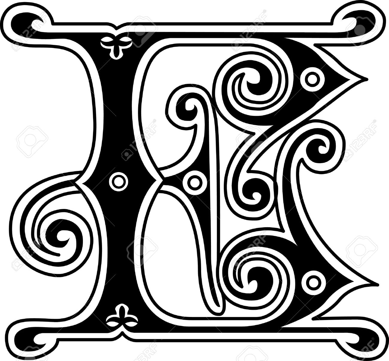 Classic Style English Alphabet Letter E Monochrome Royalty Free