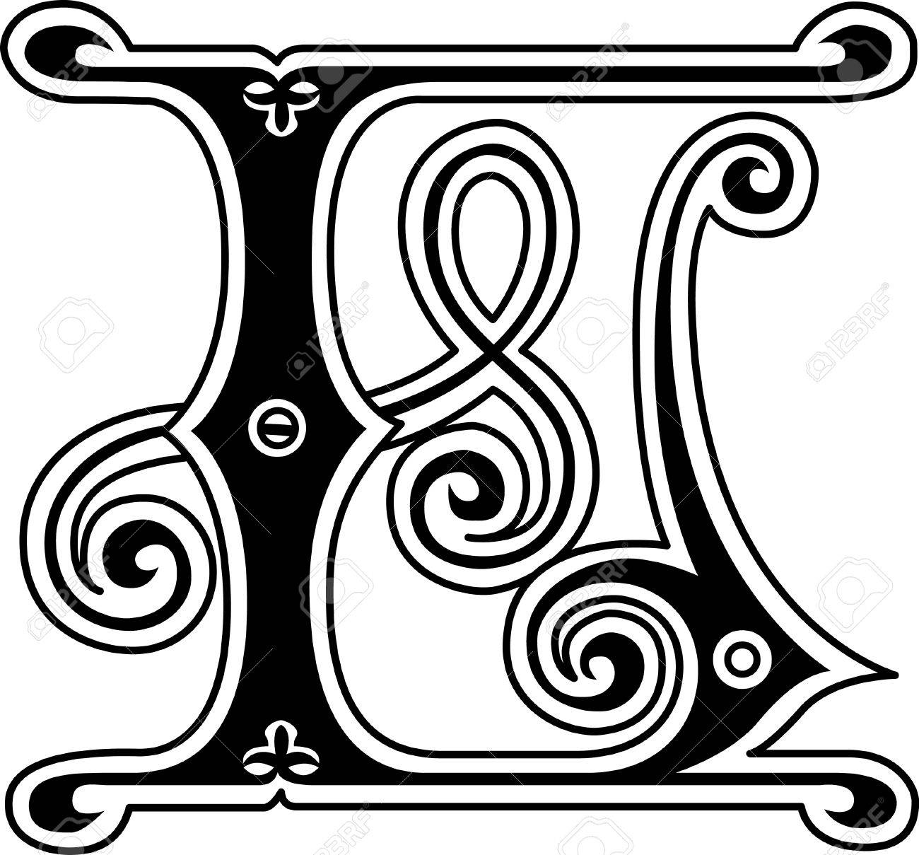 Classic Style English Alphabet Letter L Monochrome Stock Vector