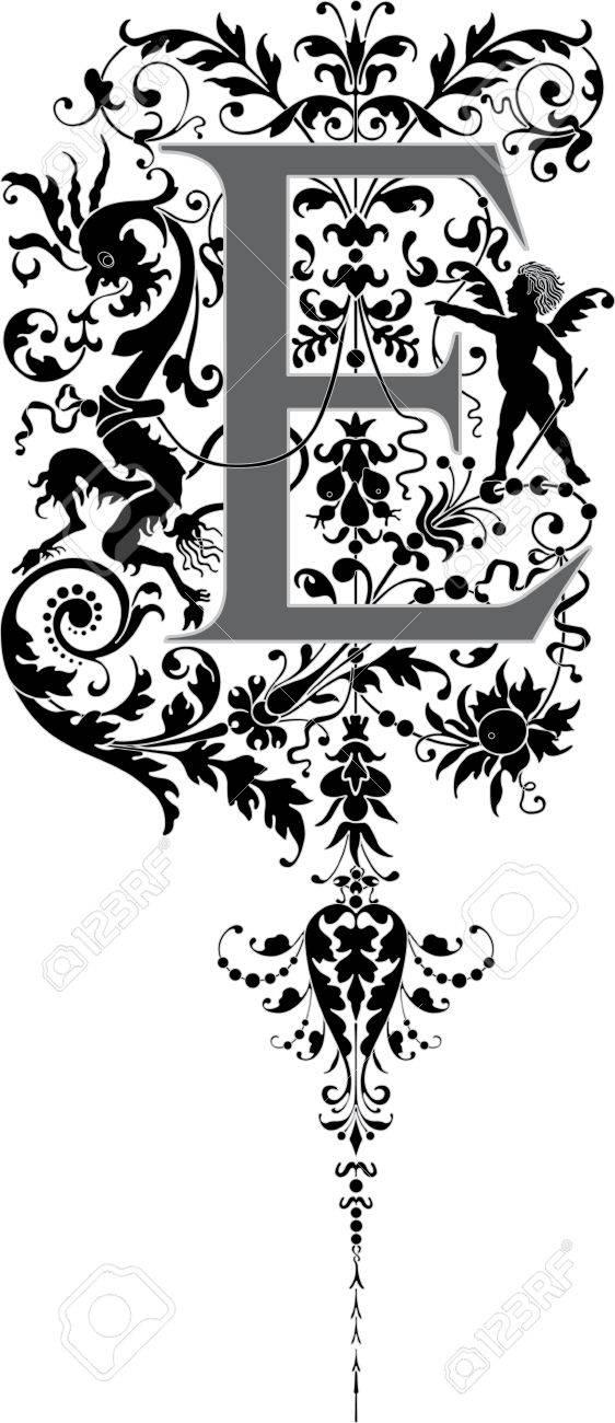 Fantasy style, English alphabet, letter E, Grayscale Stock Vector - 23262814