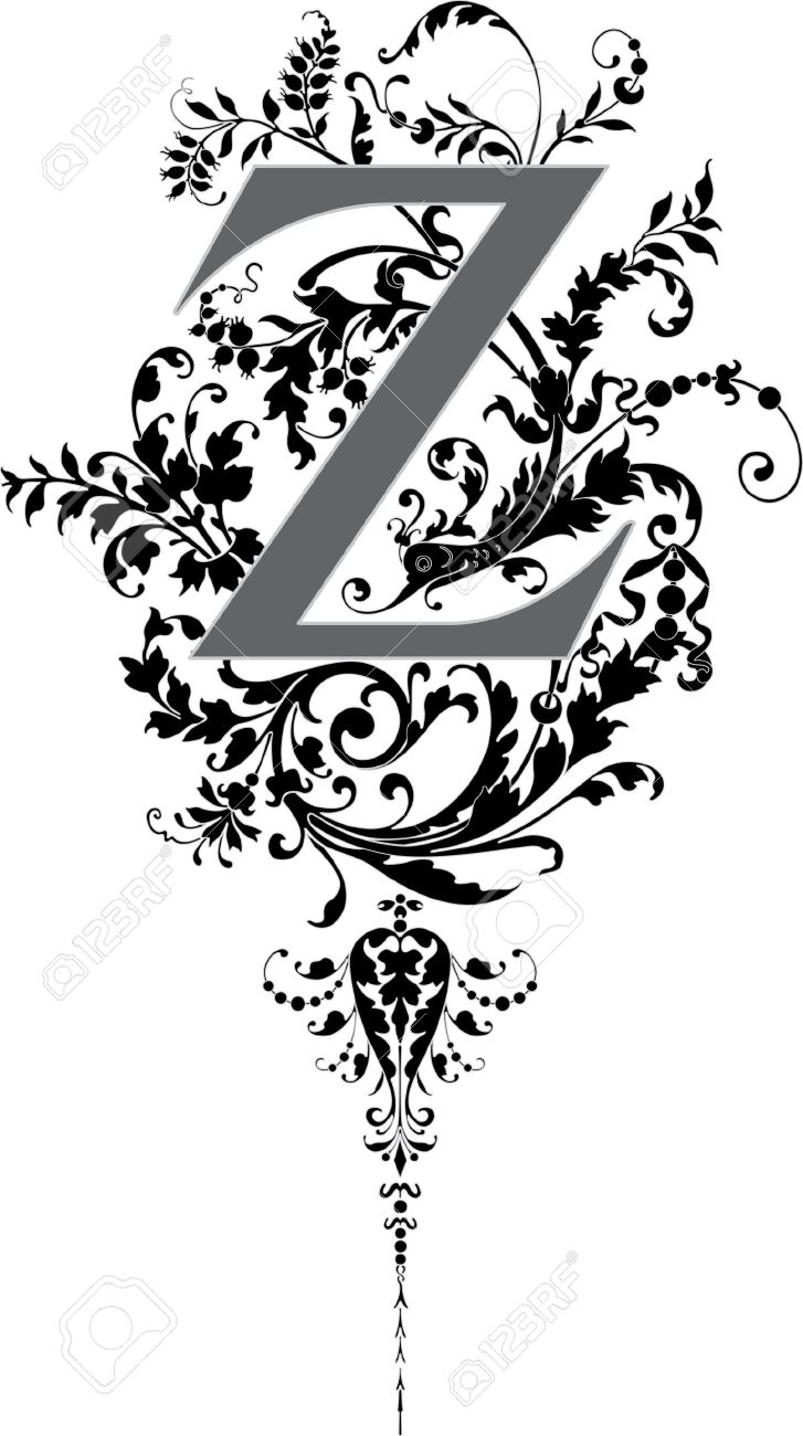 Fantasy Style English Alphabet Letter Z Grayscale Stock Vector