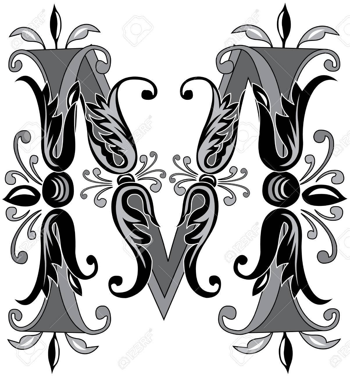 d4e4a50eea9e Follaje alfabeto Inglés, letra M, Blanco y Negro Foto de archivo - 23263363