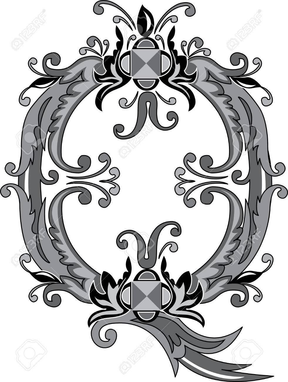 Foliage English Alphabet Letter Q Black And White Royalty Free