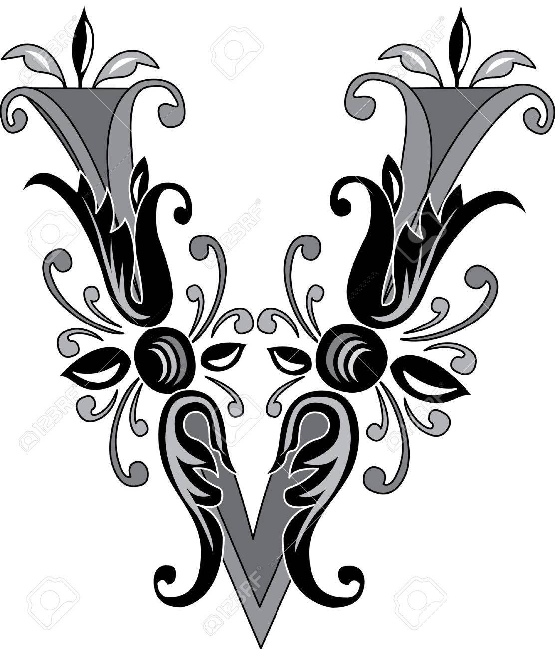 Foliage English Alphabet Letter V Black And White Royalty Free