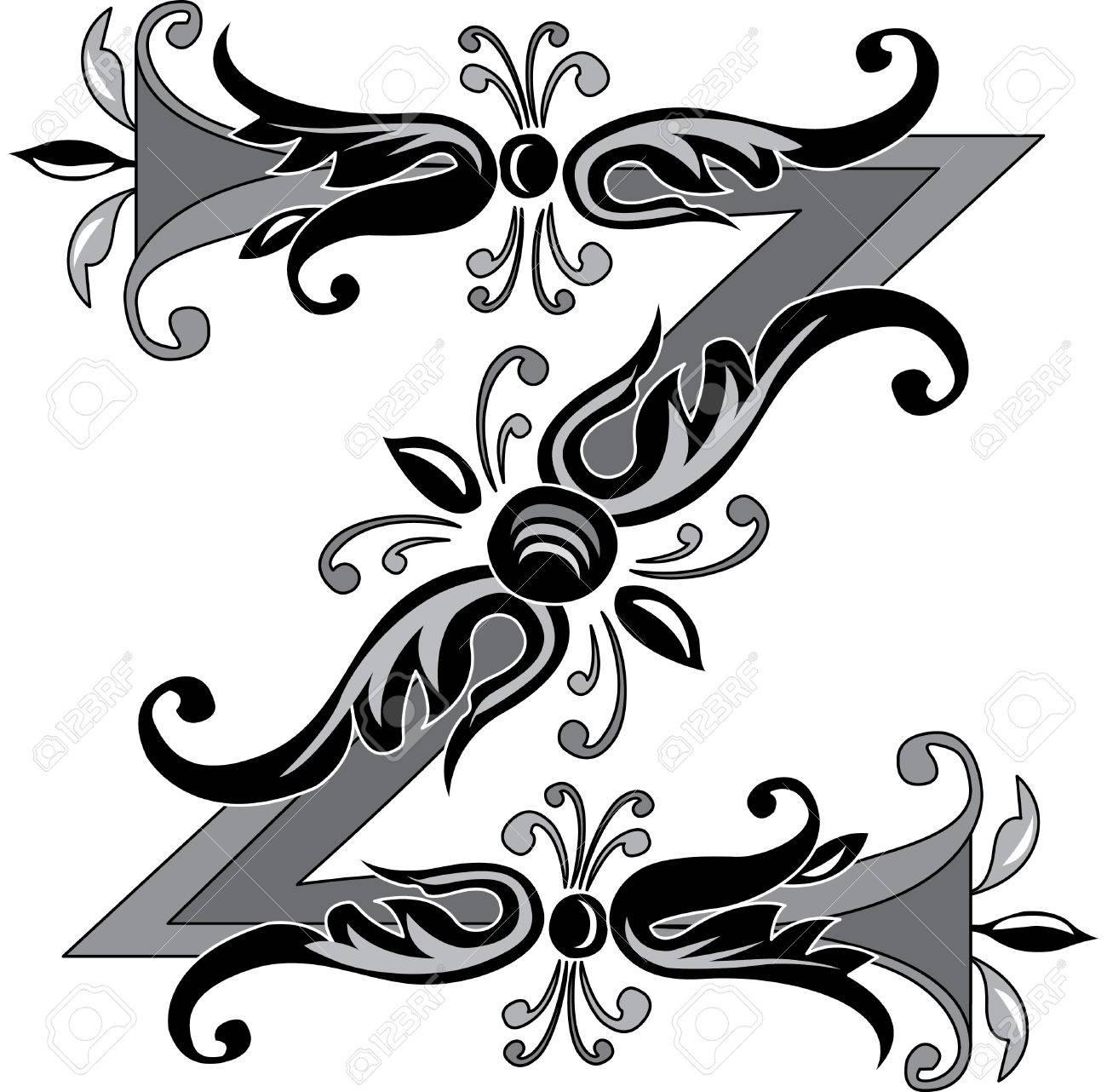 Foliage English Alphabet Letter Z Black And White Royalty Free