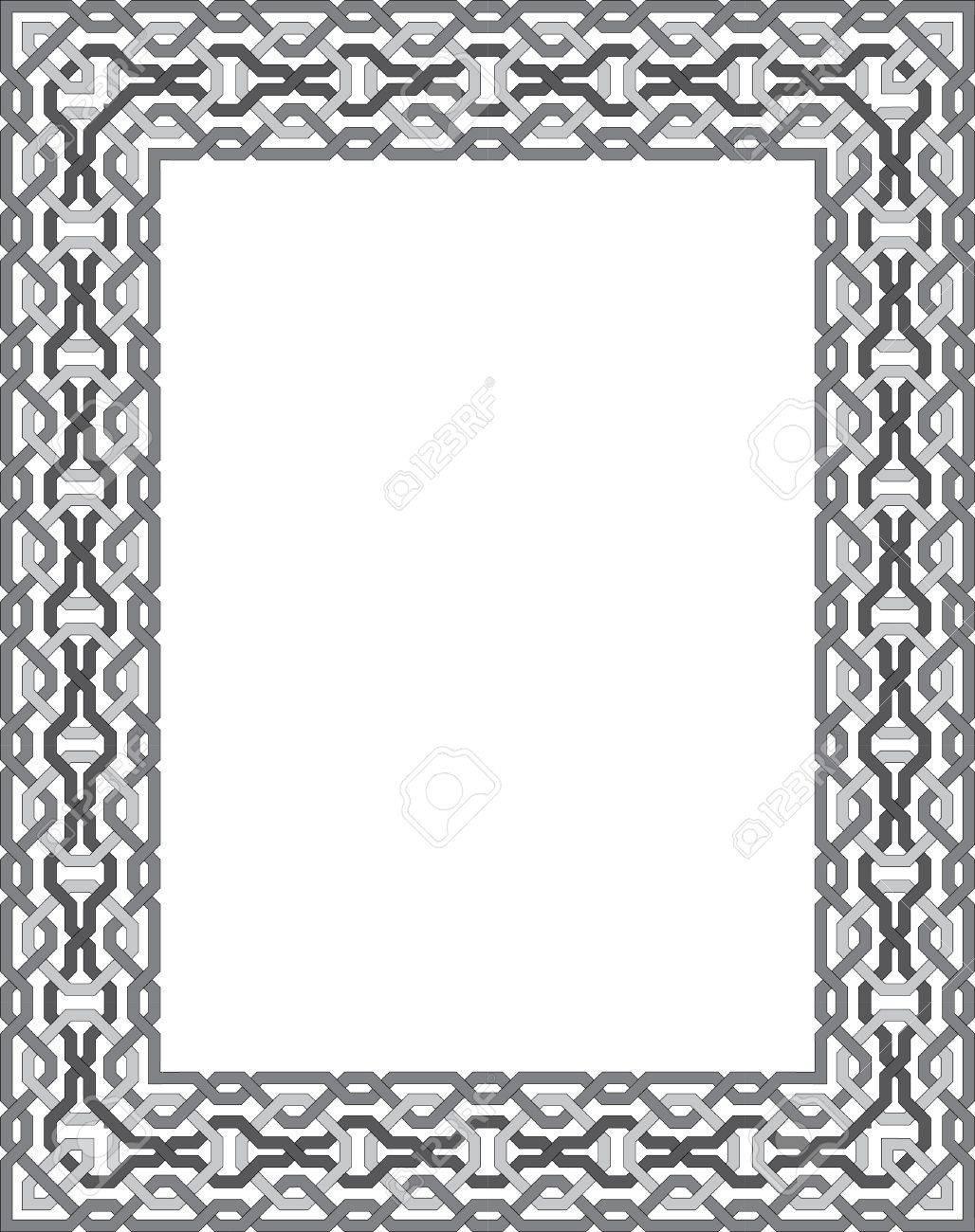 Fliesen Arabeske Vektor-Rahmen, Graustufen Lizenzfrei Nutzbare ...