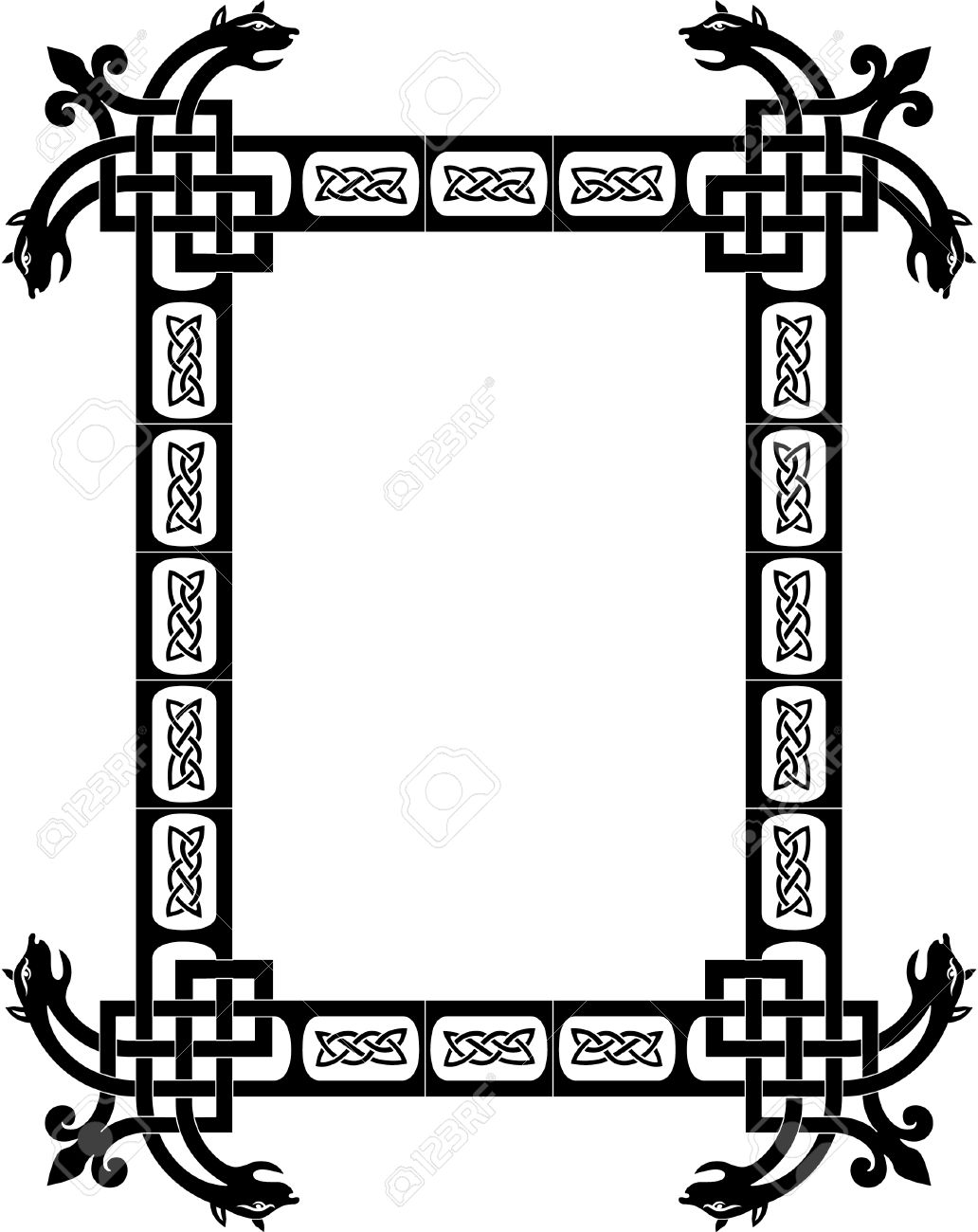 Tiled arabesque vector frame, with corners, Grayscale Stock Vector - 23504985