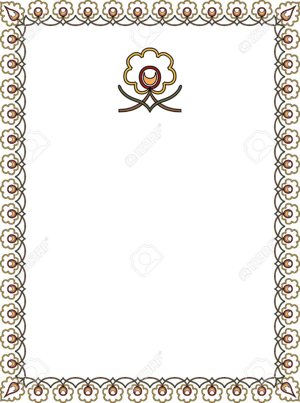 Simple Outline Frame Cotton Plant Royalty Free Cliparts, Vectors ...