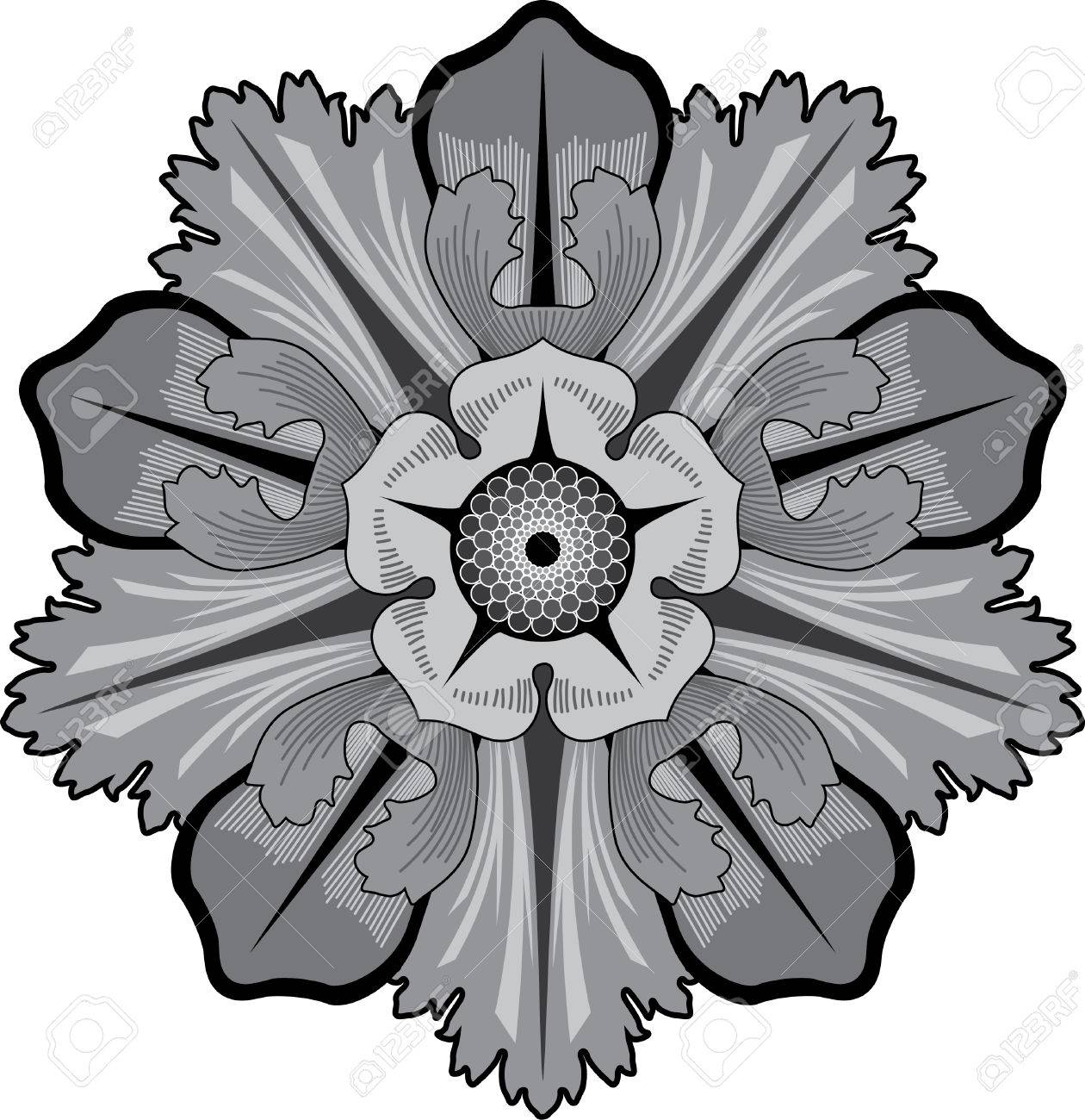 Garnished Pattern, Vector Design, Grayscale Royalty Free Cliparts ...