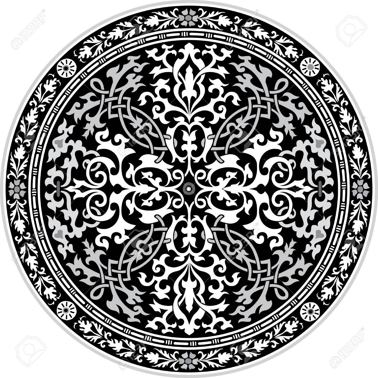 Arabesque ornate with flowers decoration in editable vectors, Grayscale Stock Vector - 24003549