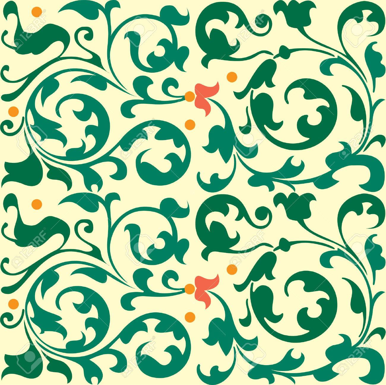 Seamless pattern, flowers and leaves stock vector, used for tiling background Stock Vector - 24147289