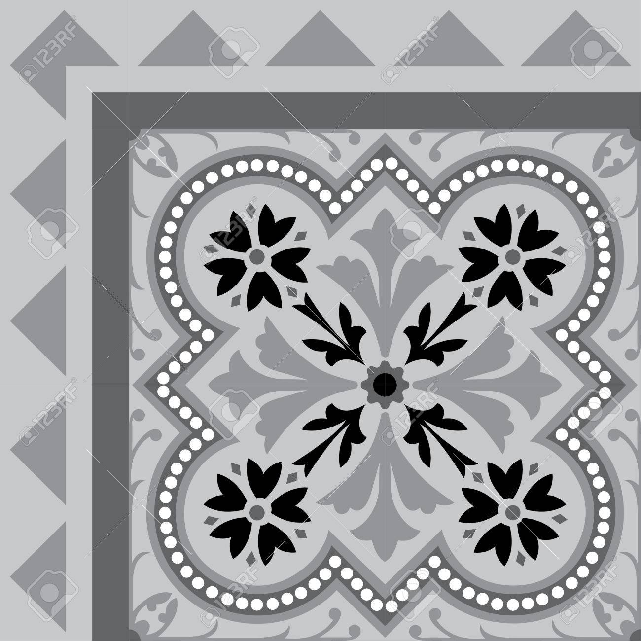 Tiled flowers background with frame, in editable vector file, Grayscale Stock Vector - 24147659