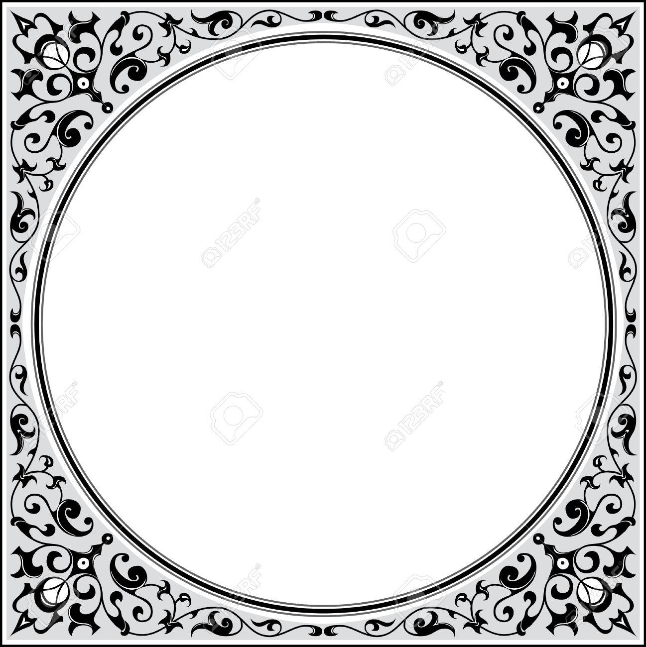 garnished square frame with corners grayscale stock vector 24306465