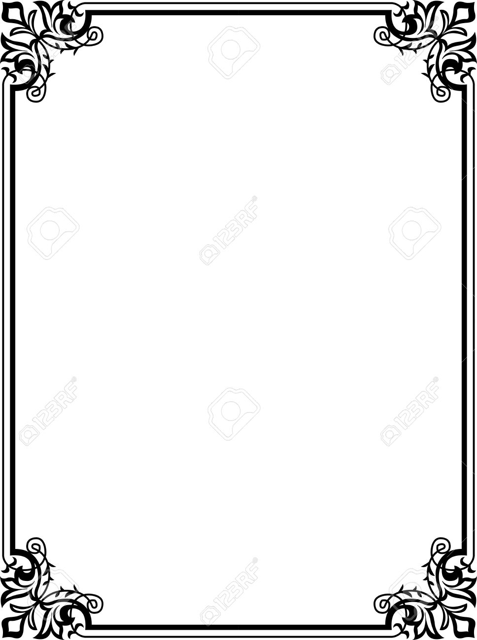 Elegant Frame With Decorative Corners, Monochrome Royalty Free ...