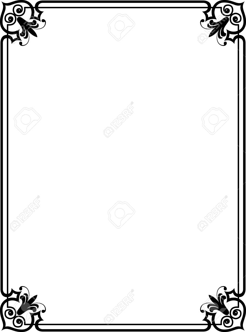 Elegant Frame With Decorative Corners Monochrome Royalty Free