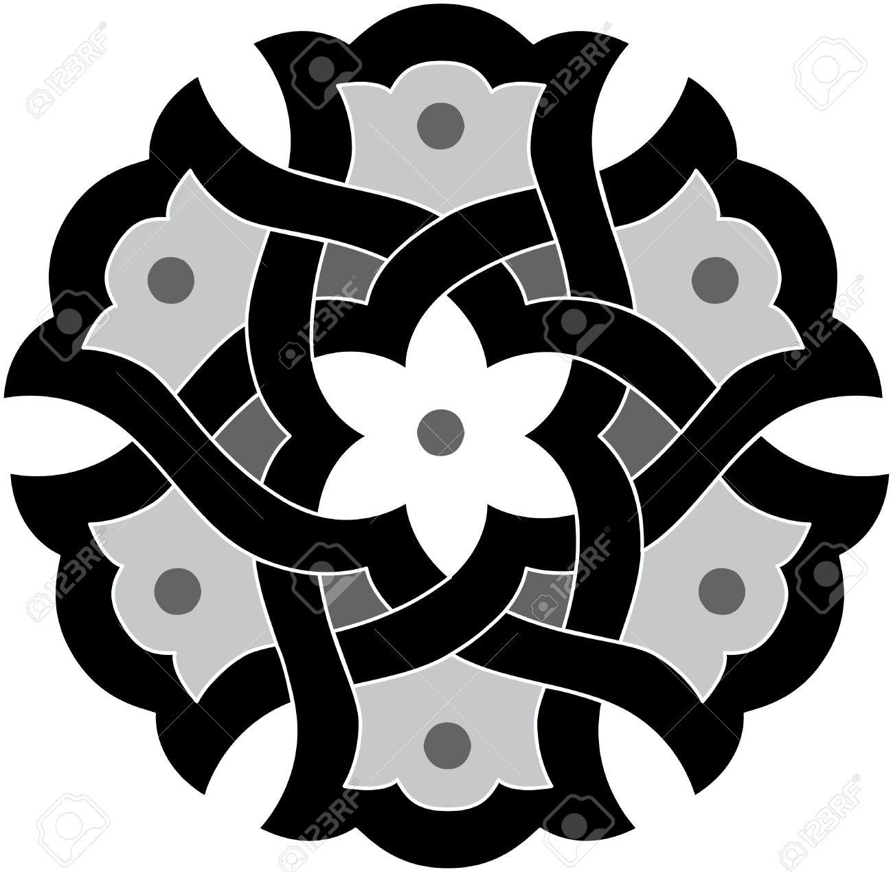 Arabesque design element, vector file, Grayscale Stock Vector - 24306612