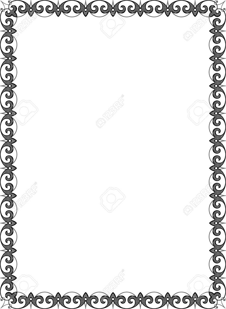 Cadre Bordure cadre de bordure ornée carrelé, niveaux de gris clip art libres de