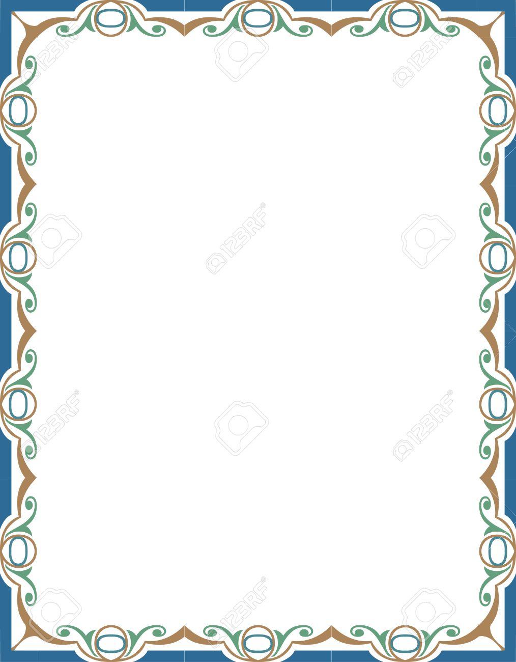 Cadre Bordure cadre de bordure ornée de tuiles, coloré clip art libres de droits