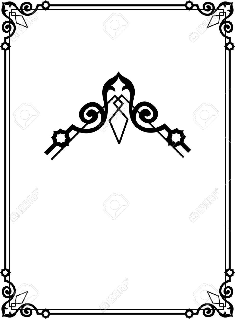 Border Frame With Beautiful Decorative Corners Royalty Free Cliparts