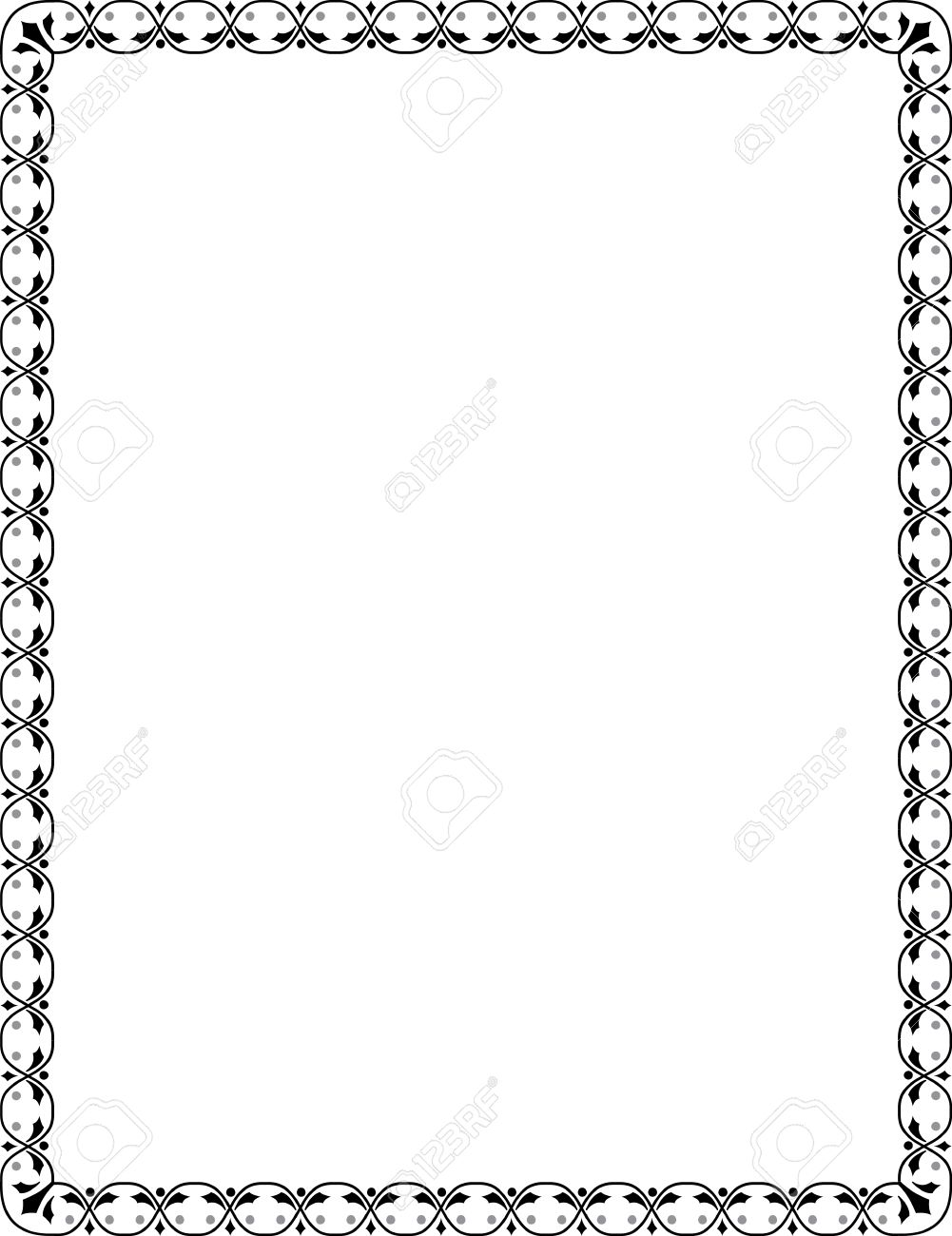 Ornamental Border Frame, In Editable Vector File, Black And White ...