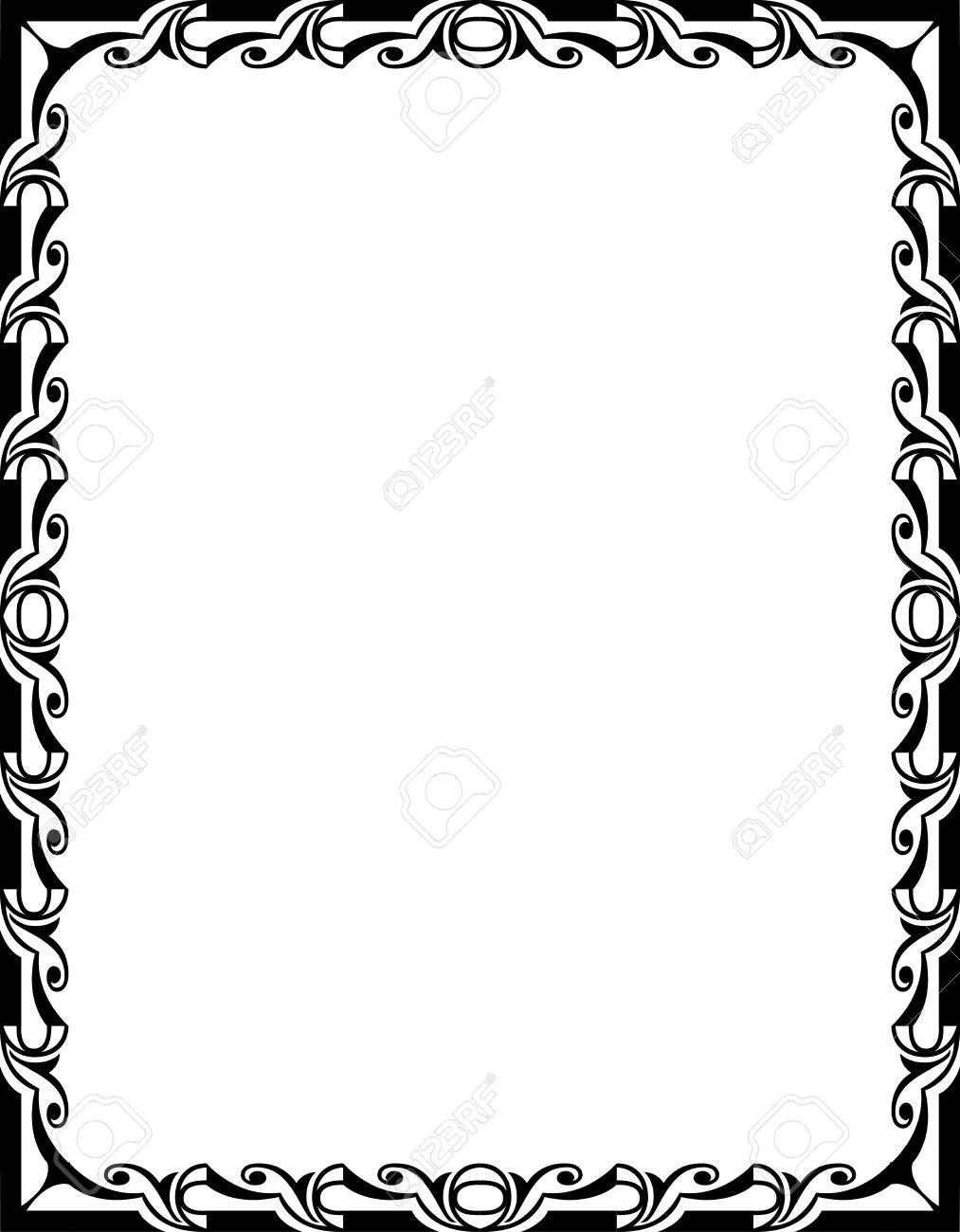 Ornamental Border Frame, In Editable Vector File, Black And White ...