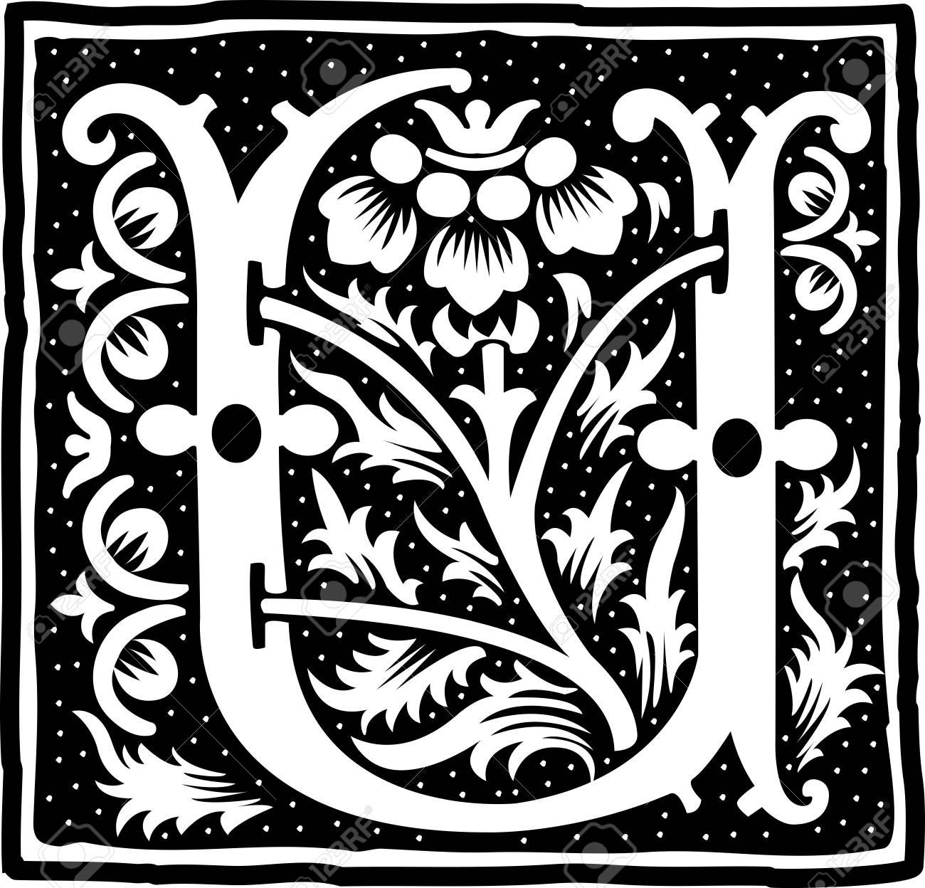 English Alphabet With Flowers Decoration Monochrome Letter U