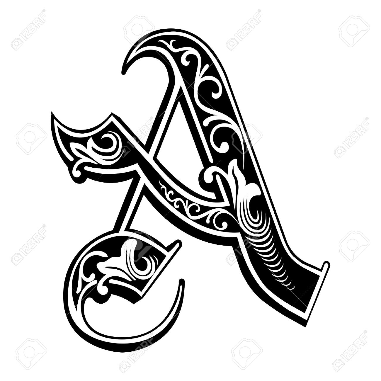 Beautiful Decoration English Alphabets Gothic Style Letter A Stock Vector