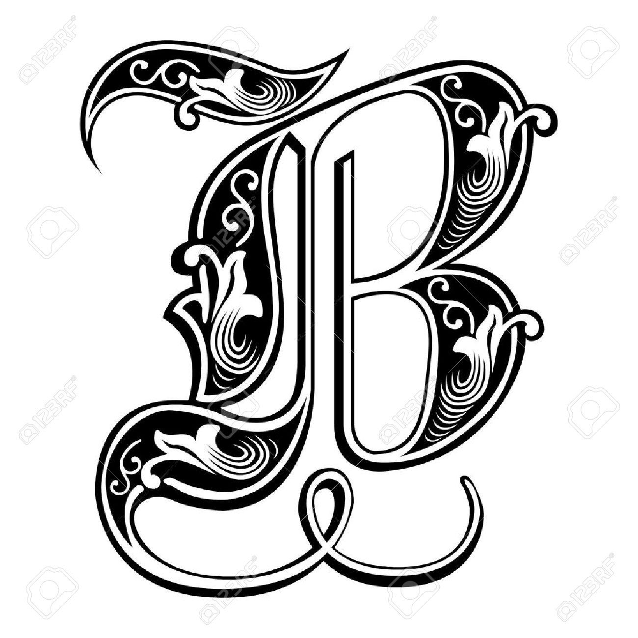 Beautiful decoration English alphabets, Gothic style, letter B - 27142593