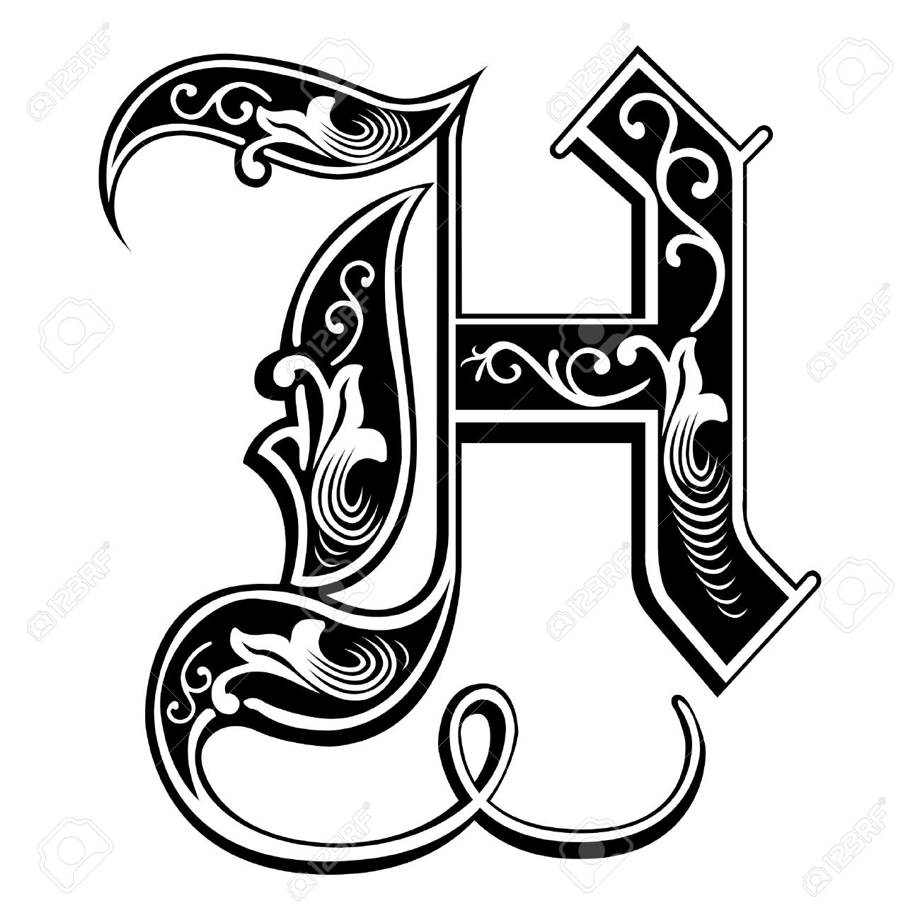 Beautiful Decoration English Alphabets Gothic Style Letter H Stock Vector