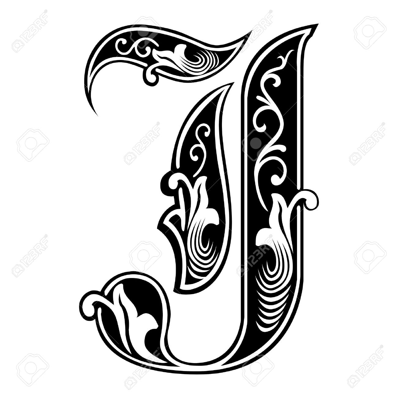 beautiful decoration english alphabets gothic style letter j stock vector 27142689