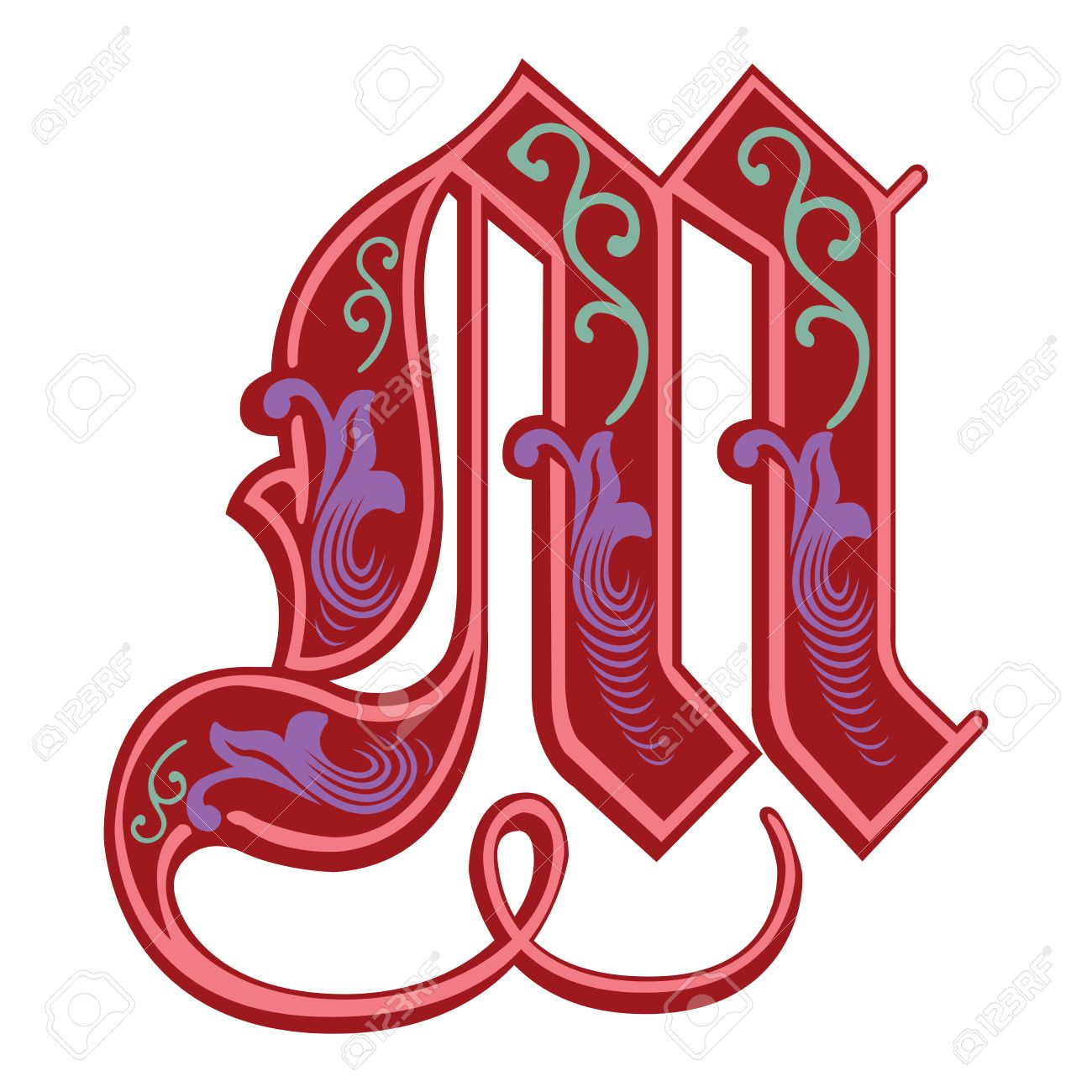 Beautiful Decoration English Alphabets Gothic Style Letter M Stock Vector