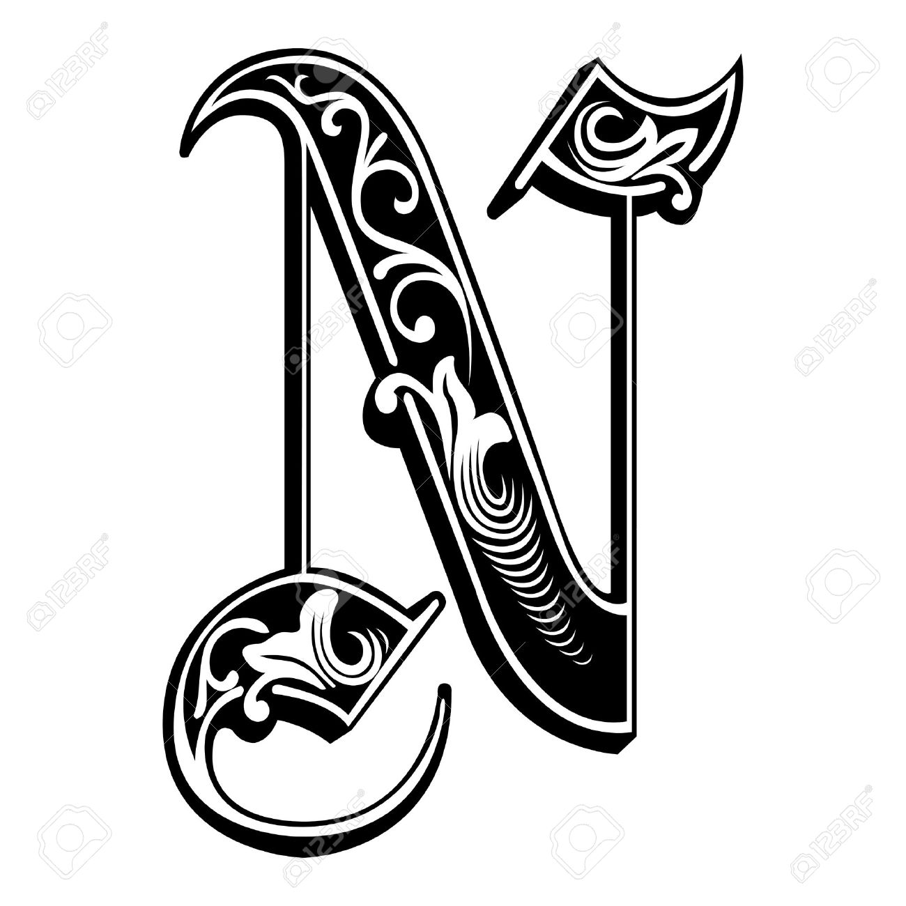 beautiful decoration english alphabets gothic style letter n stock vector 27142756