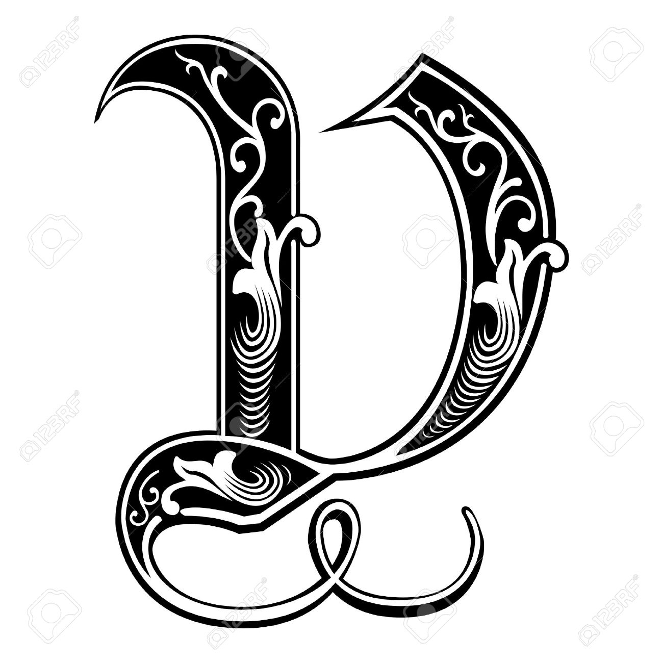 Beautiful Decoration English Alphabets Gothic Style Letter V Stock Vector