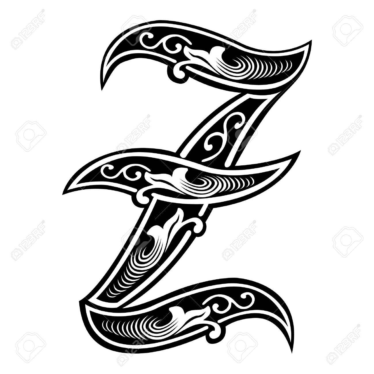 Beautiful Decoration English Alphabets Gothic Style Letter Z Stock Vector