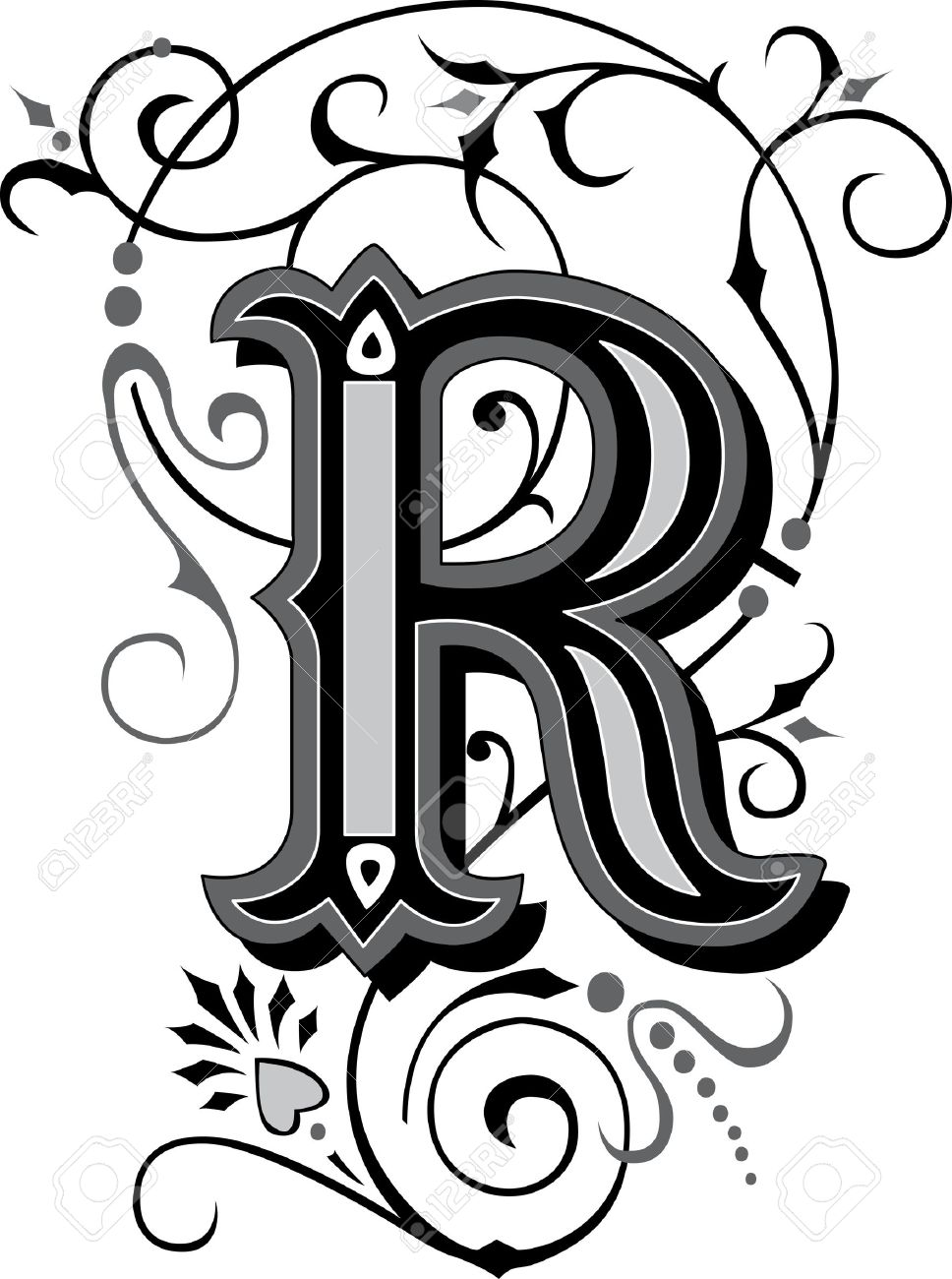 Beautifully Decorated English Alphabets Letter R Royalty Free
