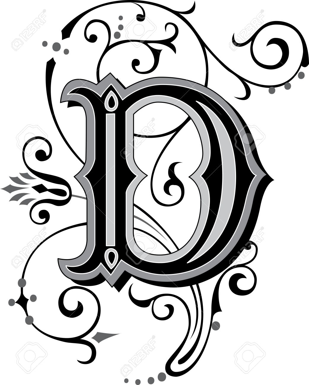 Beautifully Decorated English Alphabets Letter D Stock Vector