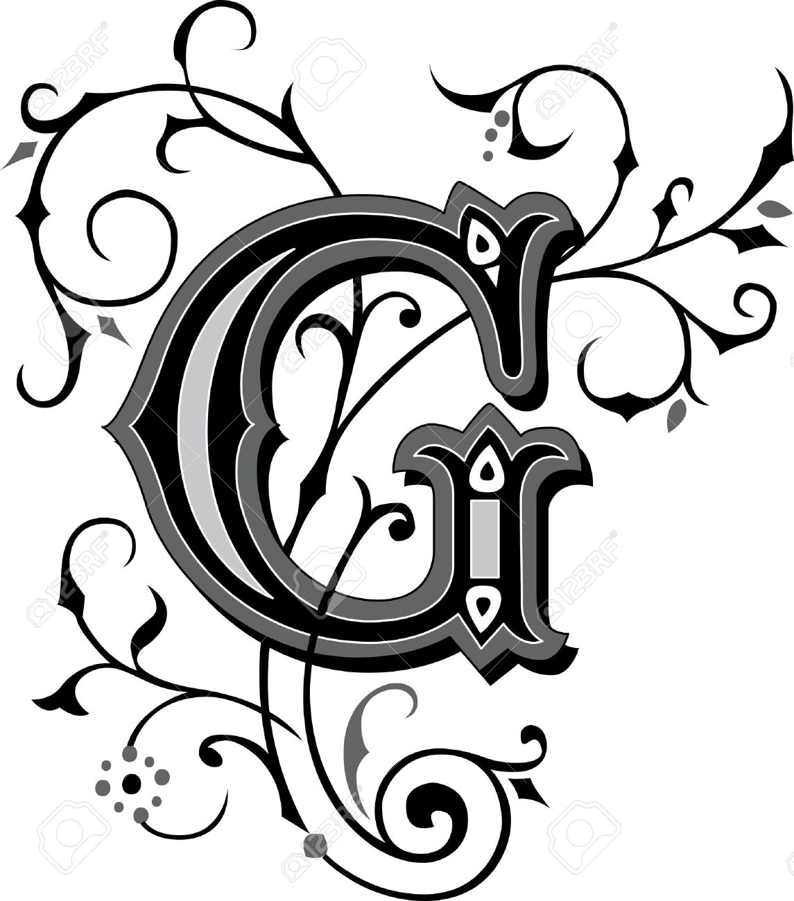 Beautifully Decorated English Alphabets Letter G Royalty Free
