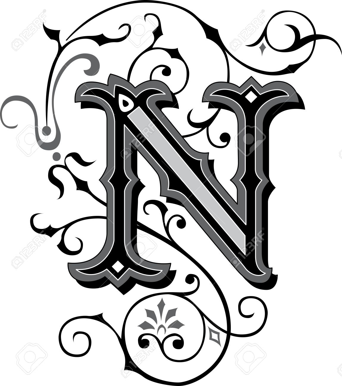 beautifully decorated english alphabets, letter n stock vector - 27143225