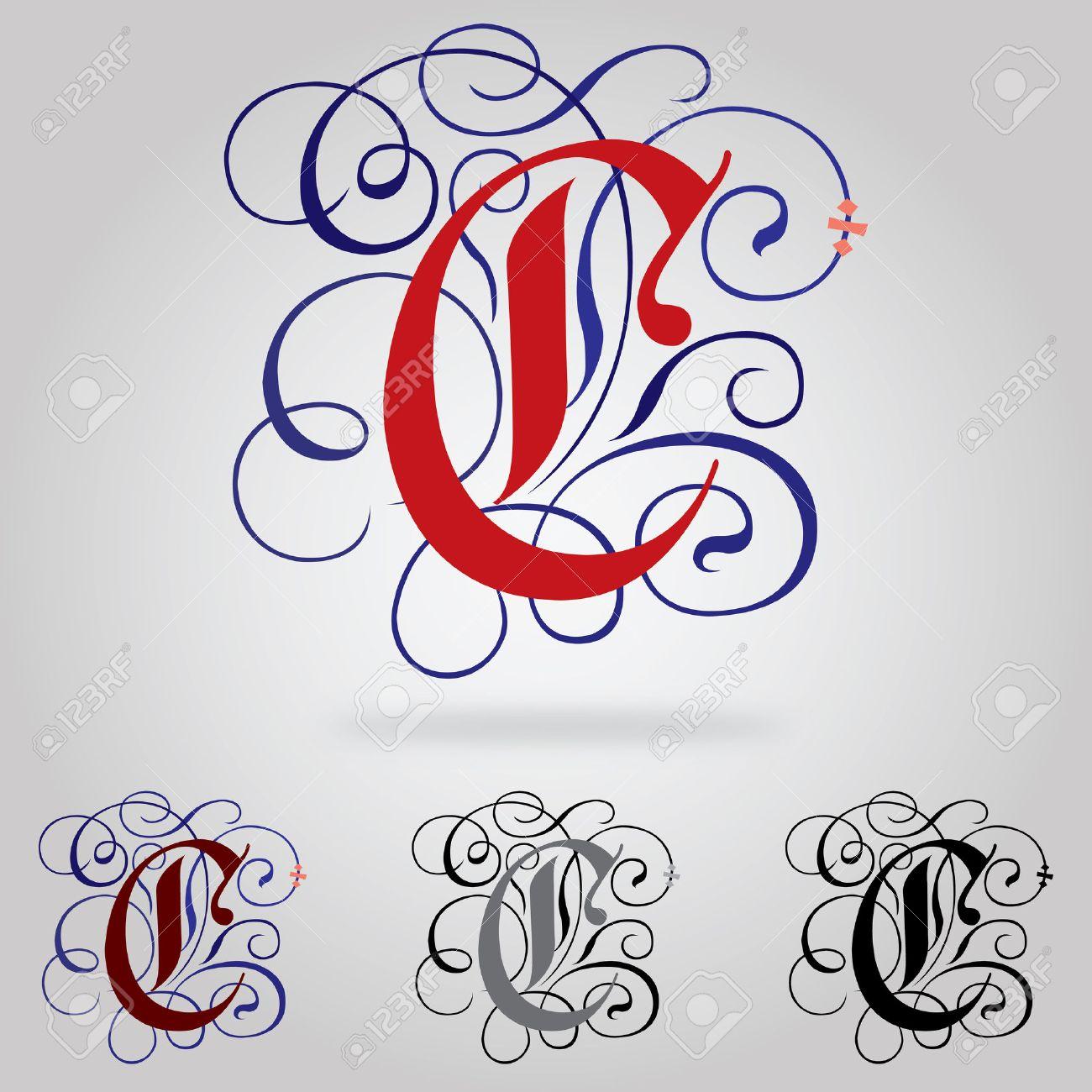 Tatouage Lettre C Calligraphie 15 Decore Majuscules Gothic