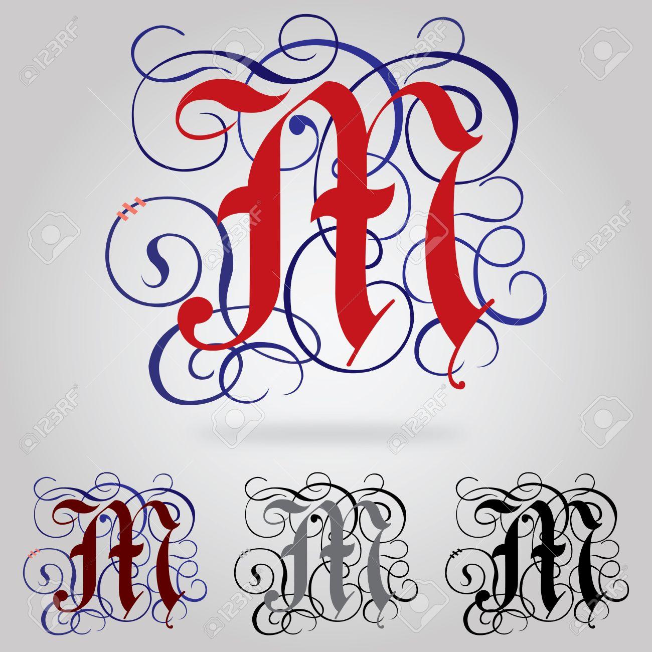Decore Majuscules Gothic Lettre M Clip Art Libres De Droits
