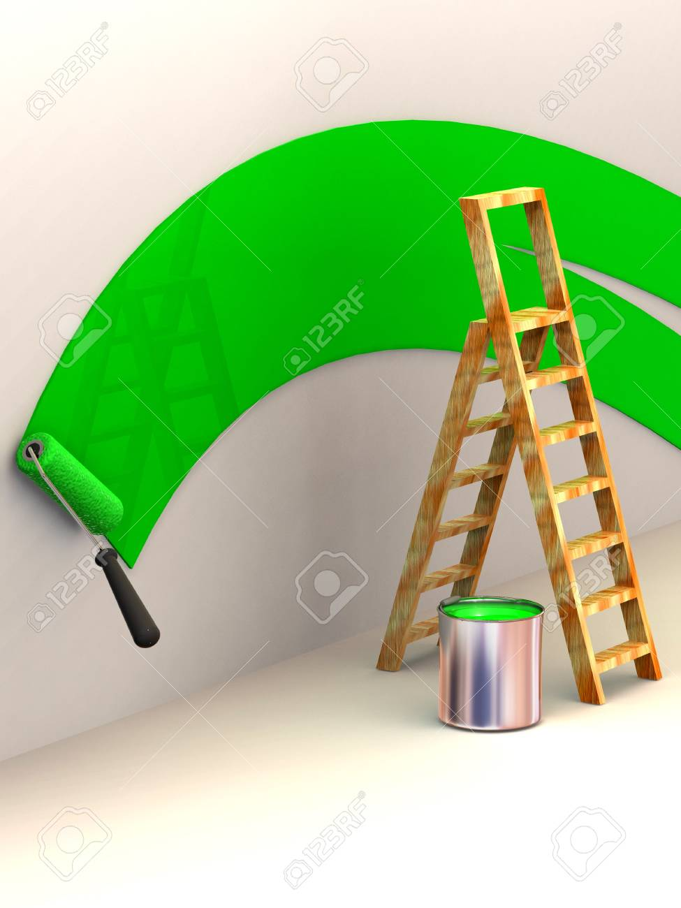 Ladder, roller brush, bucket. Space for text. 3d Stock Photo - 3576461